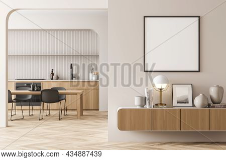 Empty White Square Frame On A Beige Living Room Wall. Interior With A Sideboard And On Trend Kitchen