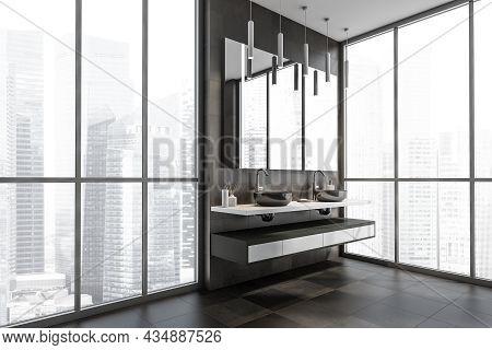 Corner Of The Dark Brown Panoramic Bathroom Interior With A Shelf Vanity And A Floating Countertop,