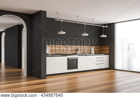 Grey Kitchen Interior With Stylish Simplified Cabinets, Three Lamps, A Parquet Floor, An Archway And