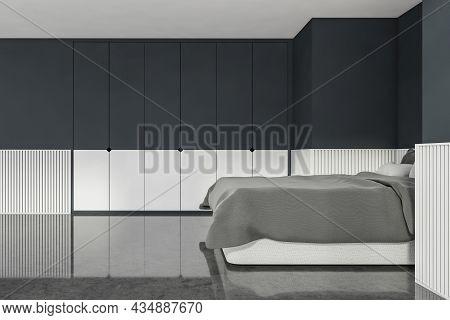 Interior Design Of Trendy Bedroom In Blue And Grey Shades. Concrete Floor, Basement Ledge, Comfortab