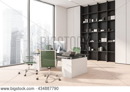 Corner View Of The White And Beige Panoramic Office Interior With Green Rolling Chairs, A Bookcase A
