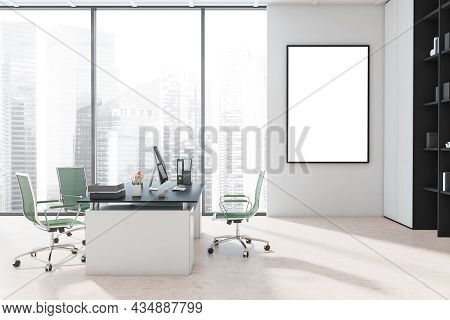Canvas On The White Office Wall With A Floor-to-ceiling Window, A Manager Office Desk, Green Office