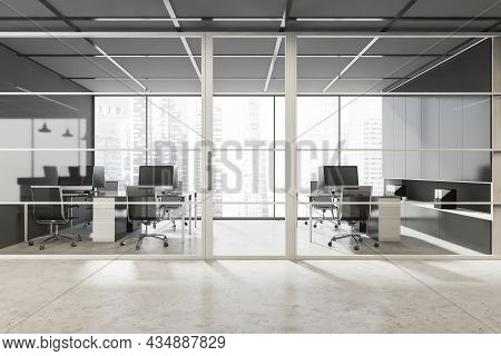 Black Framed Glass Entrance To The Stylish Panoramic Area With Office Desks. Design, Using Concrete