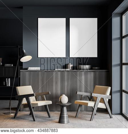 Two Canvases On A Blue Living Room Wall Over A Sideboard And Two Easy Armchairs With Other Interior