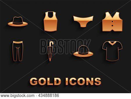 Set Umbrella, Waistcoat, T-shirt, Man Hat, Leggings, Men Underpants, And Undershirt Icon. Vector