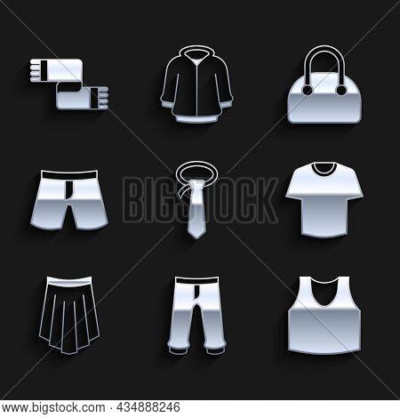 Set Tie, Pants, Undershirt, T-shirt, Skirt, Short Or Pants, Handbag And Winter Scarf Icon. Vector