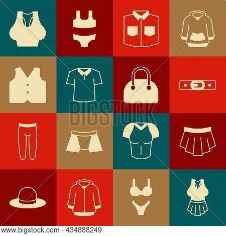 Set Undershirt, Skirt, Belt, Shirt, Waistcoat, And Handbag Icon. Vector