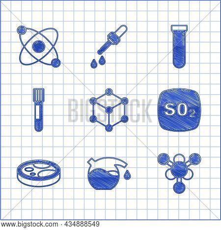 Set Molecule, Test Tube, Sulfur Dioxide So2, Petri Dish With Bacteria, And Atom Icon. Vector