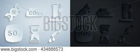 Set Old Hourglass, Test Tube Flask On Stand, Sulfur Dioxide So2, Pipette, Co2 Emissions In Cloud And