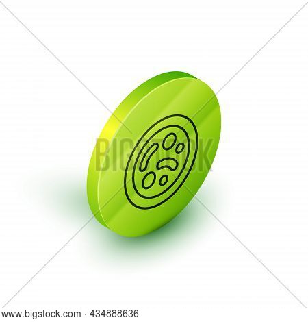 Isometric Line Bacteria Icon Isolated On White Background. Bacteria And Germs, Microorganism Disease