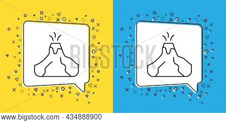 Set Line Volcano Eruption With Lava Icon Isolated On Yellow And Blue Background. Vector