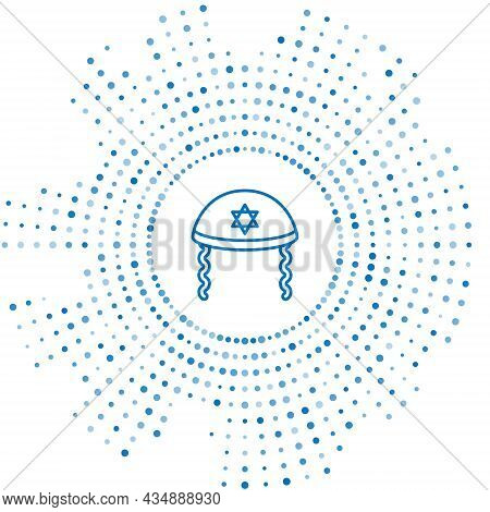 Blue Line Jewish Kippah With Star Of David And Sidelocks Icon Isolated On White Background. Jewish Y