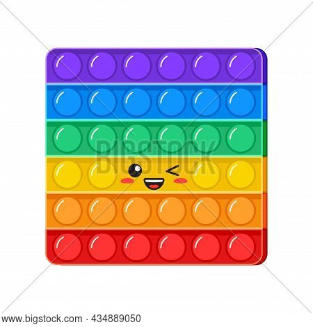 Popit kawaii wink vector toy, rainbow push bubbles, sensory game, fidget character. Antistress finger gadget emoticon. Colorful pop it square isolated on white background. Trendy kids illustration