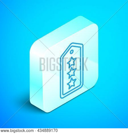 Isometric Line Military Rank Icon Isolated On Blue Background. Military Badge Sign. Silver Square Bu