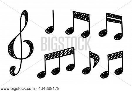 Hand Drawn Music Notes. Doodle Hand Drawn Sound Notation. Vector Illustration