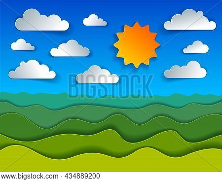 Scenic Nature Landscape Of Green Grass Meadow And Clouds In The Sky Cartoon Paper Cut Modern Style V