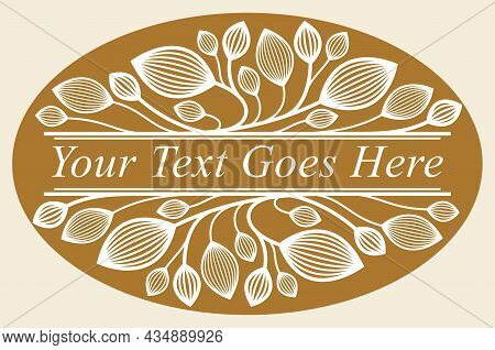 Floral Vector Design With Leaves And Branches Over Dark, Classical Elegant Fashion Style Banner Or T