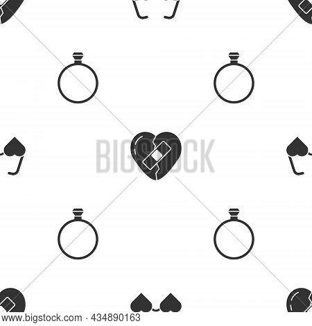 Set Heart Shaped Love Glasses, Healed Broken Heart And Diamond Engagement Ring On Seamless Pattern.
