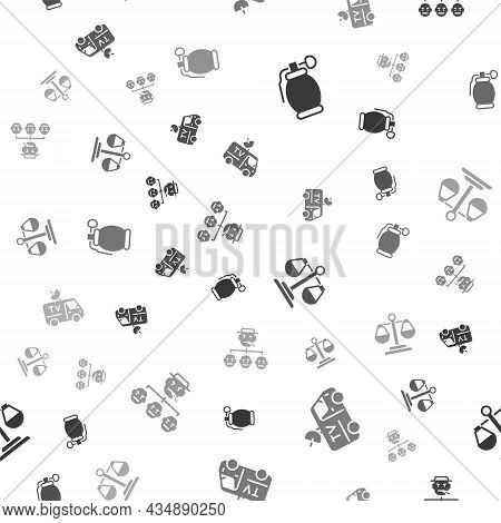 Set Hand Grenade, Tv News Car, Scales Of Justice And Mafia On Seamless Pattern. Vector