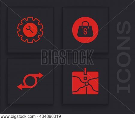 Set Intersection Point, Wrench And Gear, Shopping Bag With Sale And Arrow Icon. Vector