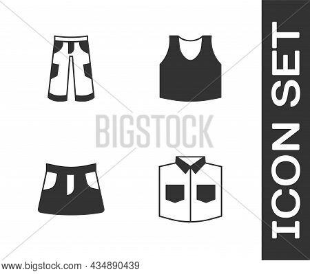 Set Shirt, Pants, Skirt And Undershirt Icon. Vector