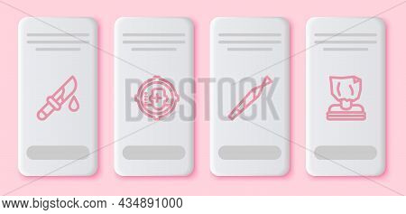Set Line Bloody Knife, Headshot, Marijuana Joint And Kidnaping. White Rectangle Button. Vector