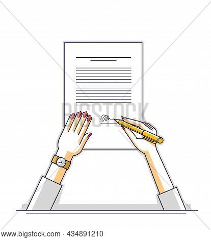 Business Woman Signs Contract Official Paper Document With Seal, Lady Boss Signs An Order Or Directi