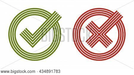 Check Mark Tick And Cross Vector Linear Symbols Isolated On White, Yeas And No, Correct And Wrong, C