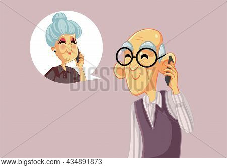 Senior Man Talking On The Phone With His Wife