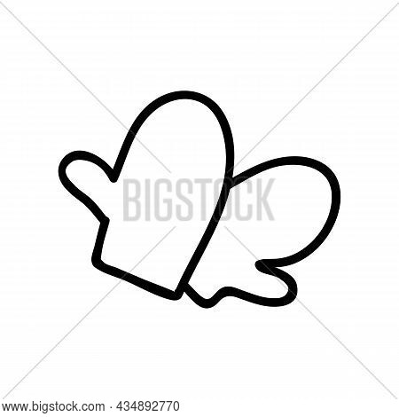 Hand Drawn Mittens. Holidays Doodles Vector Illustration. Isolated On A White Background.