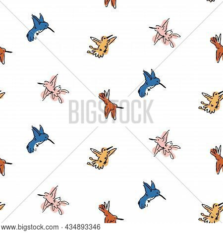 Abstract Playful Exotic Humming Bird Shape Pattern. Seamless Modern Simple Collage Style Design For