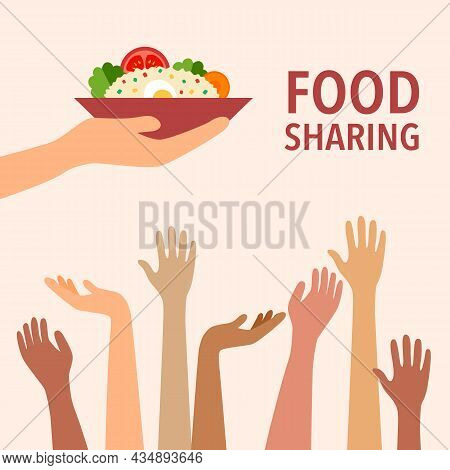 Food Sharing To Poverty In Flat Design. Food Donation Concept. Kindness And Generosity To Poor Peopl