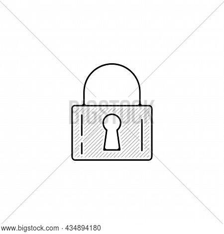 Padlock Vector Thin Line Icon. Padlock Hand Drawn Thin Line Icon.