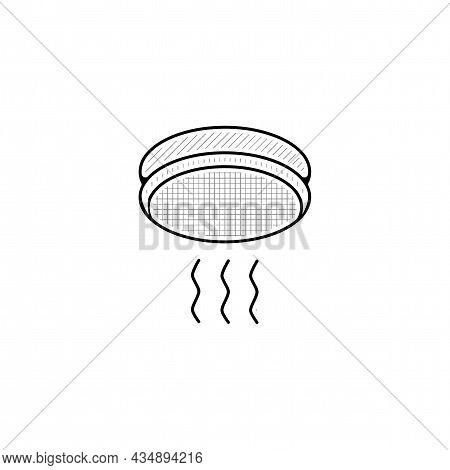 Smoke Alarm Vector Thin Line Icon. Smoke Alarm Hand Drawn Thin Line Icon.