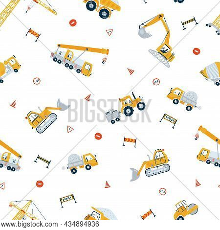 Cute Children's Seamless Pattern With Yellow Car Dump Truck, Crane, Road, Signs On White Background.