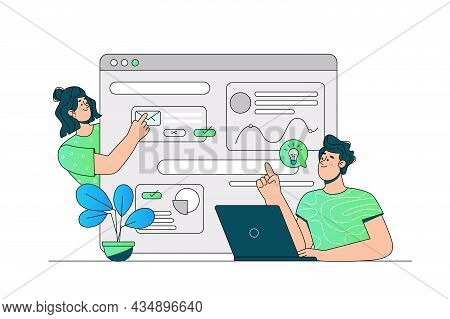 Communication Via Website Or Messenger Vector Illustration. Typing And Sending Text Message Flat Sty
