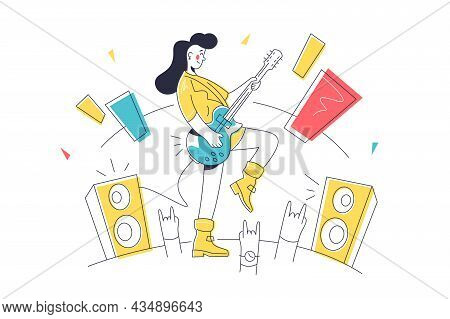 Musician With Guitar Performing On Stage Vector Illustration. Talented Character Playing Song Linear