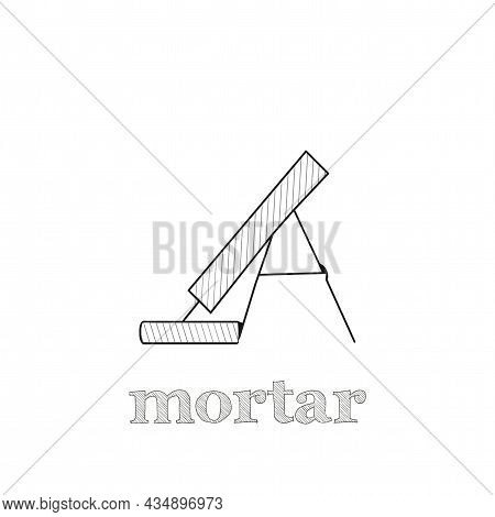 Military Mortar Vector Thin Line Icon. Military Mortar Hand Drawn Thin Line Icon.