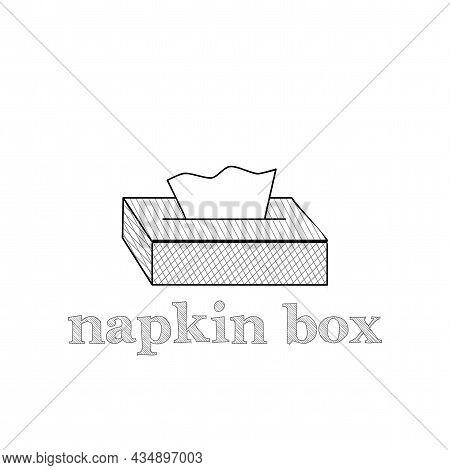 Tissue Paper Box Icon. Napkin Box Vector Thin Line Icon. Napkin Box Hand Drawn Thin Line Icon.