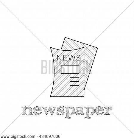 Press Release, Newspaper Vector Thin Line Icon. Newspaper Hand Drawn Thin Line Icon.