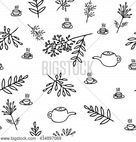 Teapot, Cups And Leaves Seamless Pattern Hand Drawn Doodle. Vector, Minimalism, Monochrome. Textiles