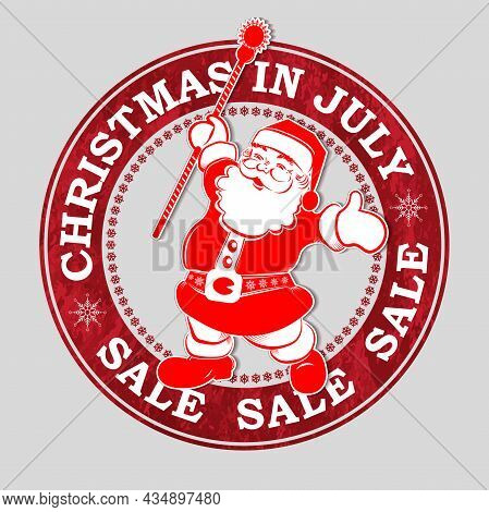 Isolated Christmas Red Round Stamp, Cheerful Santa Claus With A Staff