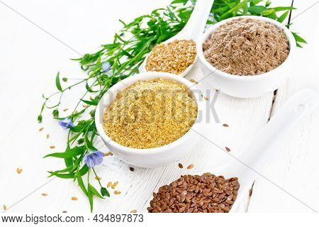Bran And Flour Flaxseed In Bowls On Light Wooden Board