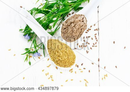 Bran And Flour Flaxseed In Spoons On Board Top