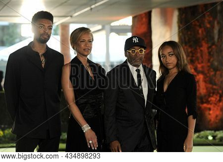 Tonya Lewis Lee, Spike Lee, Satchel Lee and Jackson Lee at the Academy Museum of Motion Pictures Opening Gala held in Los Angeles, USA on September 25, 2021.