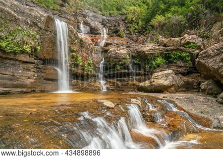 Long Exposure Side View Of The Base Of Wentworth Falls In The Blue Mountains Of Nsw
