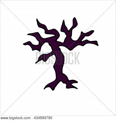 Doodle Scary Bare Purple Tree. Hand Drawn Horror Autumn Plant Isolated On White Background. Naked Tr