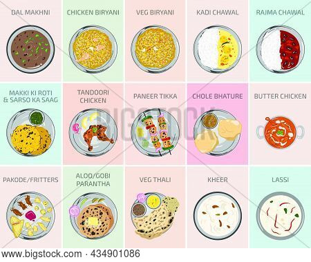 Indian Food Vector Graphics. Punjabi Food From Punjab. Main Course Breakfast Lunch And Dinner Meals