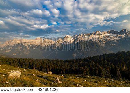 Dolomites on Italian and Slovenian border around  mountain Monte Ursic with 2541 m in Julian Alps