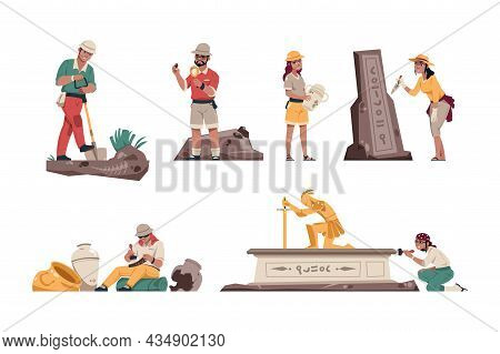Cartoon Archeology. Paleontologist Characters With Archeological Tools. Geologists Working In Field.